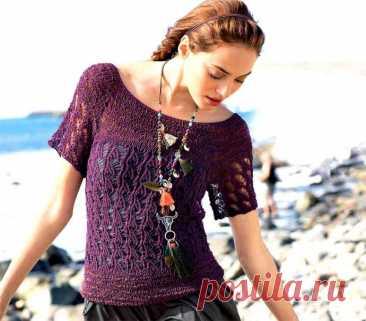 Двухцветный ажурный пуловер