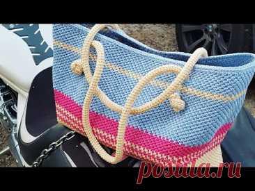 Самая яркая вязаная сумка тоут крючком. Мастер-класс 👜 crochet bag.