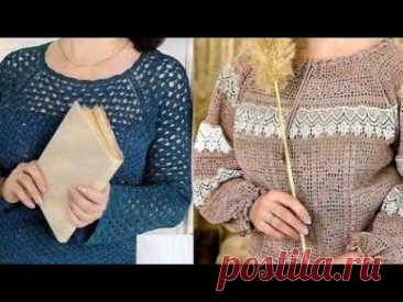 Женские пуловеры крючком со схемами - Women's Crochet Pullovers with Patterns - YouTube