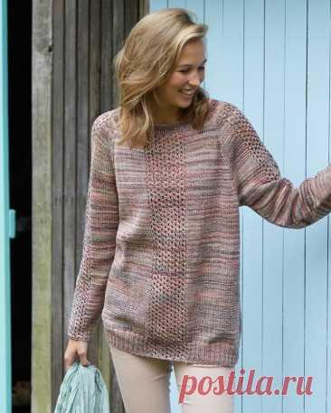 Меланжевый пуловер-реглан с ажурными вставками (Вязание спицами) — Журнал Вдохновение Рукодельницы