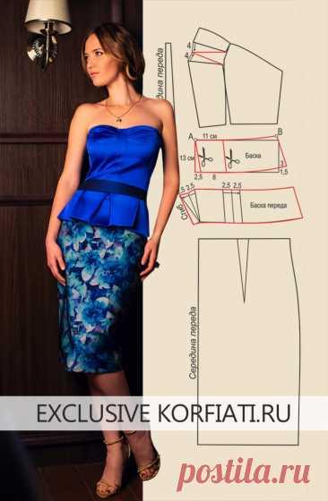 Выкройка облегающего платья корсажного типа от А. Корфиати