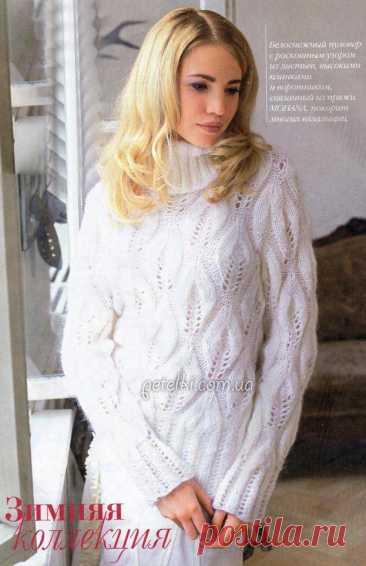 Красивый ажурный пуловер с листочками. Схема, описание вязания Потрясающий нежный пуловер из ангоровой пряжи с узором ЛИСТОЧКИ, выполненным спицами. Размеры: 38/40 (48/50) Вам потребуется: 400 (500) г белой пряжи Моhапа (67% полиакрила, 33% мохера, 125 м/50 г); прямые спицы № 4 и № 5,5; круговые спицы № 4. Резинка, спицы № 4: попеременно 2 лиц.,