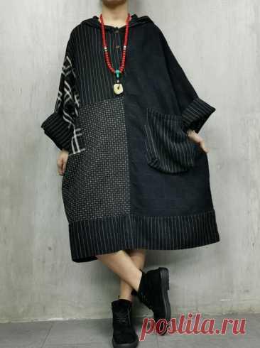 Women Oversized dress Retro Dress Cotton linen Hooded Dress | Etsy
