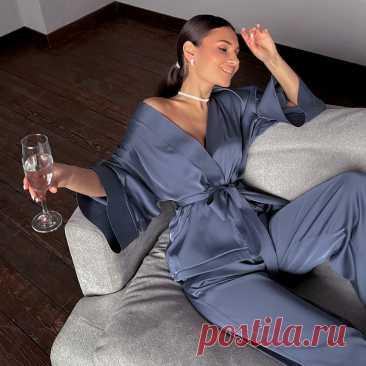 1321.79руб. 41% СКИДКА|Комплект для сна HiLoc женский атласный, пижама свободная с расклешенными брюками и рукавом три четверти, модная одежда, 2021|Комплекты халатов и сорочек|   | АлиЭкспресс Покупай умнее, живи веселее! Aliexpress.com