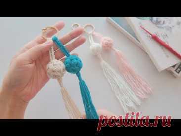 Жетон вязания крючком: уникальная маленькая гортензия, нежный и милый кулон с кисточкой