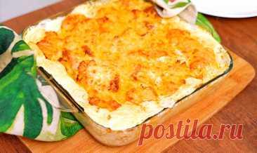 Картошка с курицей под сливками и сыром в духовке