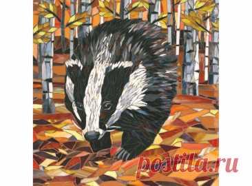 Badger Giclee Print Mosaic Badger Art Print Rustling | Etsy
