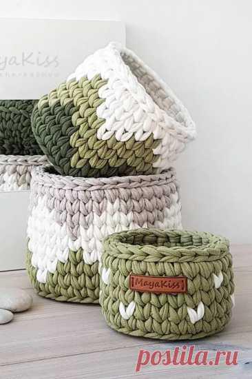 (7) Вязаные корзинки из трикотажной пряжи - Сам себе мастер - медиаплатформа МирТесен