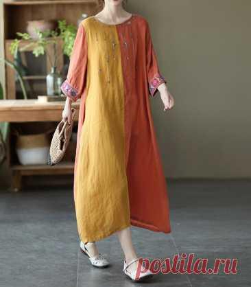 Linen summer dress retro dresses long dress cocktail dress | Etsy