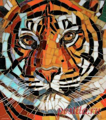 Tiger Glass Mosaic by Cynthie Fisher Tiger Glass Mosaic Painting by Cynthie Fisher