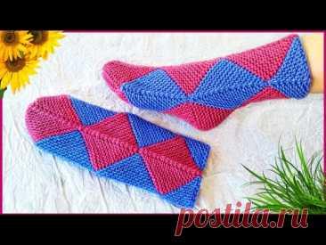 Носки из квадратов без шва. Носки в технике Пэчворк. На любой размер. Подробный мастер класс.