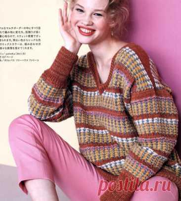Жаккардовый пуловер. Схема-выкройка Вязаный спицами жаккардовый пуловер. Схема-выкройка