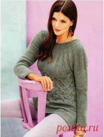 Серо-Зеленый Пуловер с Круглой Кокеткой - Вязание Спицами - Схема и Описание   Liliya knits   Яндекс Дзен