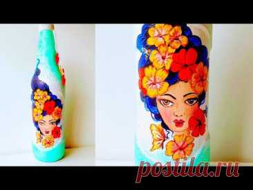 Glass Bottle Painting /Step By Step Painting