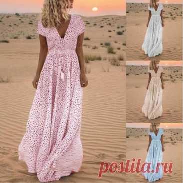 Длинное вечерние  платье в горошек, элегантные платья Бохо С V образным вырезом, весеннее