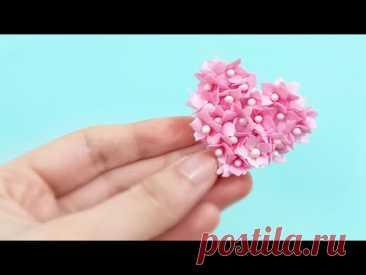 Маленькое цветочное сердечко из фоамирана / Сердечко  для открыток, заколок, резинок / foam