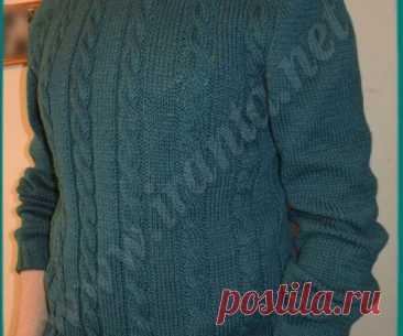 Мужской свитер ирландским регланом спицами