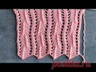 Простой и лёгкий ажурный узор спицами для вязания джемперов, палантинов, носков