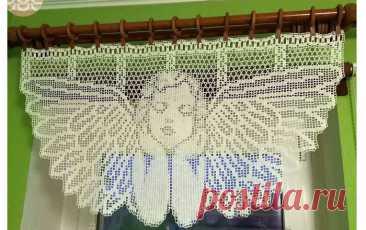 """Занавеска«Ангел» Схема вязания занавески """"Ангел"""". Даны три размера  Обновите кухню новой занавеской к св"""