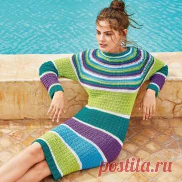 Оригинальная идея для платья. Описание вязания спицами