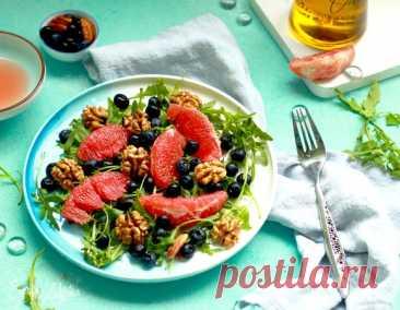 Салат с грейпфрутом, черникой, грецким орехом и руколой, пошаговый рецепт на 504 ккал, фото, ингредиенты - daiquiri