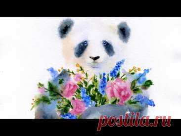 Мастер-класс #82 Вам цветы! Панда акварелью.