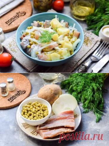 Салат из селедки с луком и горошком | Вкусные кулинарные рецепты