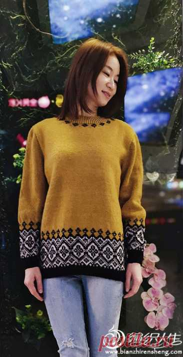 Пуловер с жаккардовыми бордюрами(схема)