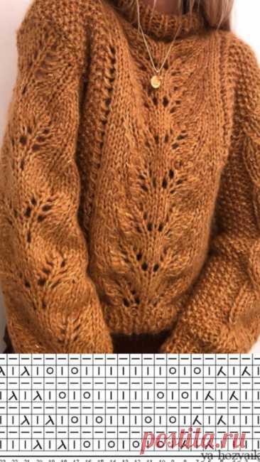 Модный вязаный пуловер спицами с центральным узором. Схема вязания пуловера спицами