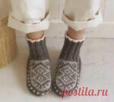 Ondori i love knit ☆ вяжем домашние сапожки с жаккардом