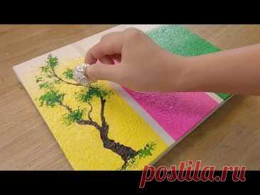 Как нарисовать 3 разных дерева для начинающих / Простые техники рисования акрилом