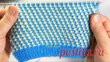 Узор для детской шапочки / Мозаичная техника вязания / Вязание спицами