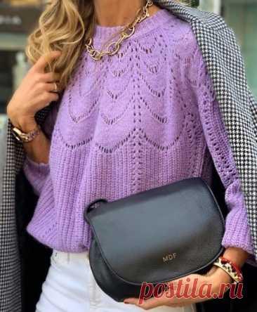 Вязаный свитер с круглой кокеткой (Вязание спицами) — Журнал Вдохновение Рукодельницы