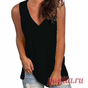 Летняя женская футболка, однотонная женская футболка с V-образным вырезом, свободная повседневная женская футболка | Женская одежда | АлиЭкспресс