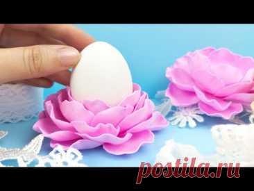 Пасхальный декор своими руками быстро и просто. Подставка-цветочек из фоамирана. DIY Easter Decor