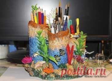 "Подставка под карандаши и ручки ""Коралловый риф"""