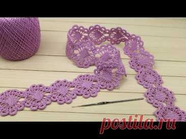 Ажурное ЛЕНТОЧНОЕ КРУЖЕВО вязание крючком мастер-класс  Crochet Tape Lace Tutorial