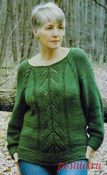 Зеленые пуловеры спицами – 6 моделей со схемами и описанием — Пошивчик одежды