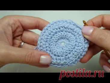 Плотный двойной узор столбиками с накидом по кругу. Double Crochet Thermal Stitch in the Round