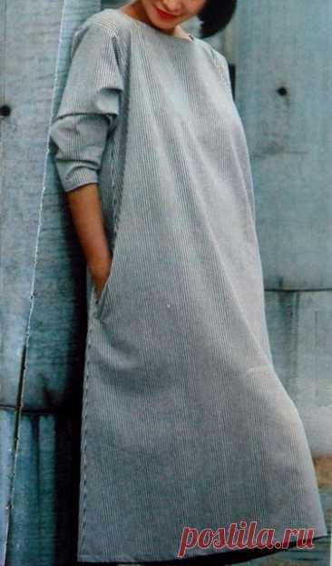 Платье свободного кроя, расширенное книзу, с карманами в боковых швах. Выкройка на 48-52 размеры