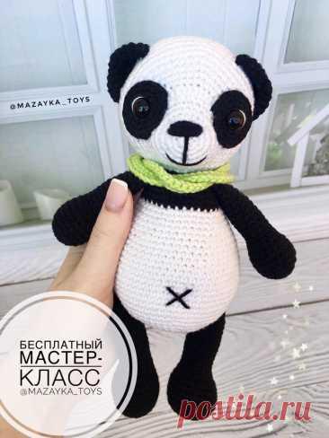 PDF Пандочка крючком. FREE crochet pattern; Аmigurumi animal patterns. Амигуруми схемы и описания на русском. Вязаные игрушки и поделки своими руками #amimore - Панда, медведь, медвежонок, мишка.