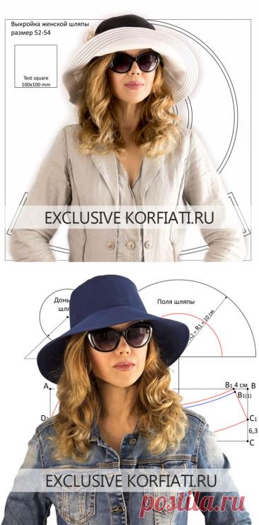Выкройка женской шляпы панама от Корфиати - скачайте бесплатно!