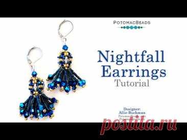 Nightfall Earrings - DIY Jewelry Making Tutorial by PotomacBeads