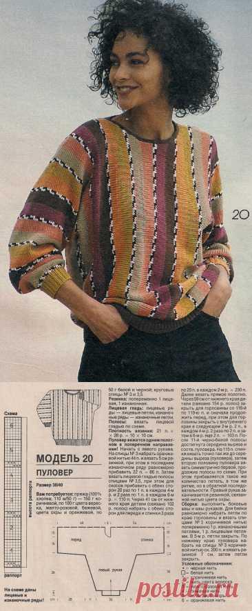 Женский пуловер в полоску связанный в поперечном направлении