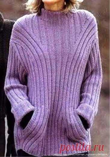 Женский удлиненный пуловер. Описание вязания