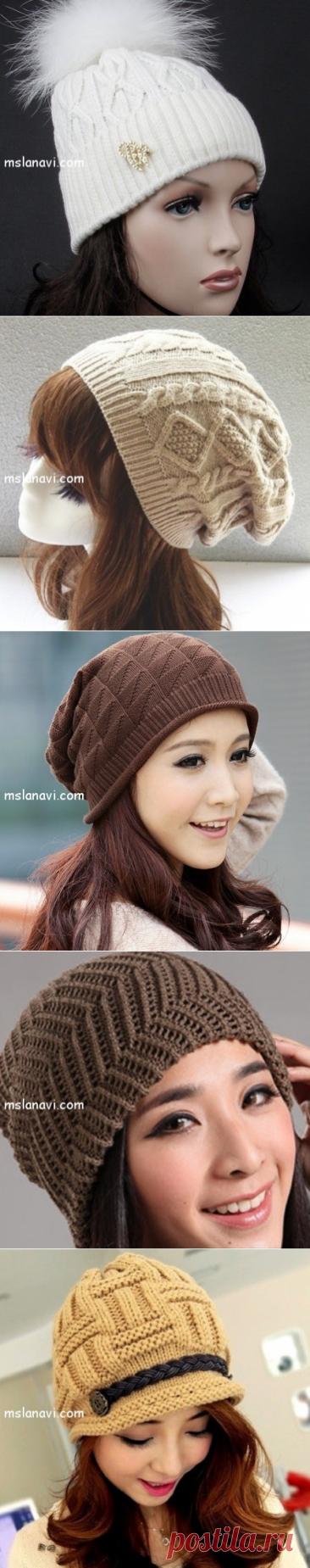 Модные шапочки спицами: разные варианты идей   Вяжем с Лана Ви