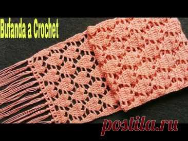 Bufanda/Chalina Tejida a Crochet(Tutorial)Cómo Tejer Bufanda a Crochet Aplicación de Corazones❤❤