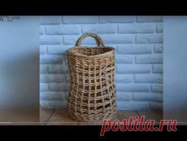 Корзина сетка для овощей фруктов и тп. Плетение из газетных трубочек