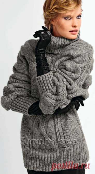 Объемный пуловер-пончо с узором из плетеных кос — Shpulya.com - схемы с описанием для вязания спицами и крючком
