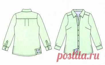 Офисная блузка рубашечного кроя, выкройка на размеры 44/46, 48, 50/52, 54 (рос.). #простыевыкройки #простыевещи #шитье #блузка #рубашка #выкройка